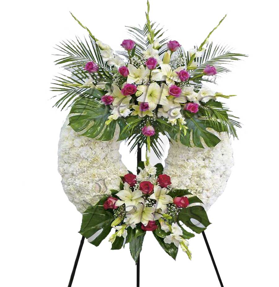 Corona Fúnebre Con Rosas Y Lirio Fu 11